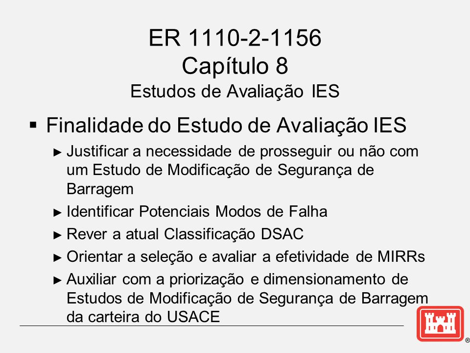 ER 1110-2-1156 Capítulo 8 Estudos de Avaliação IES