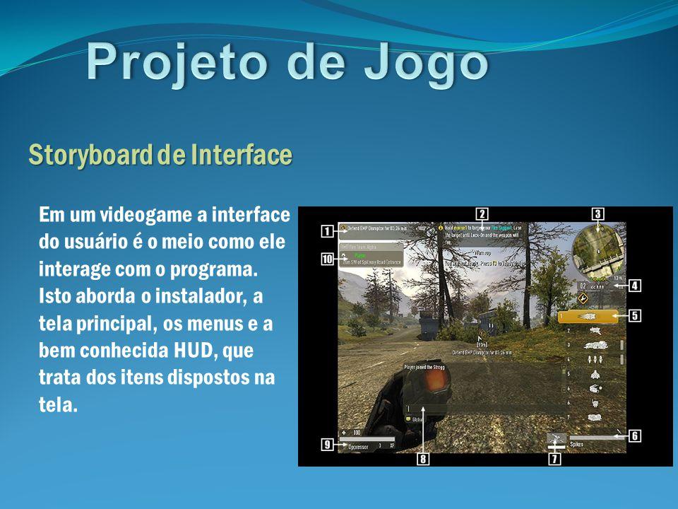 Projeto de Jogo Storyboard de Interface