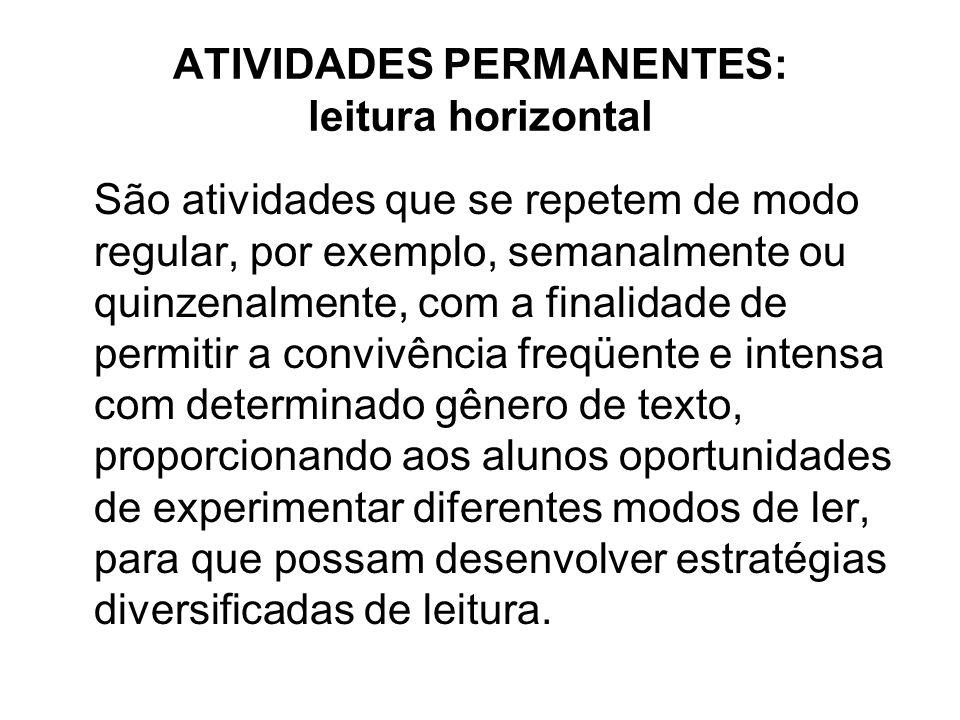 ATIVIDADES PERMANENTES: leitura horizontal