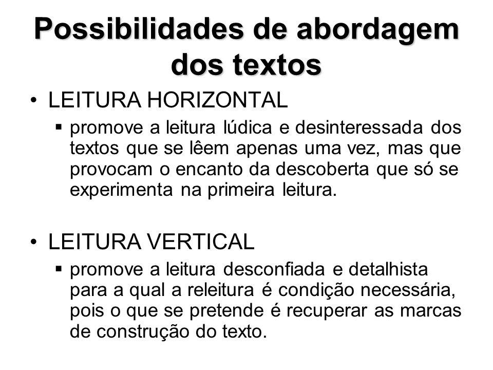 Possibilidades de abordagem dos textos