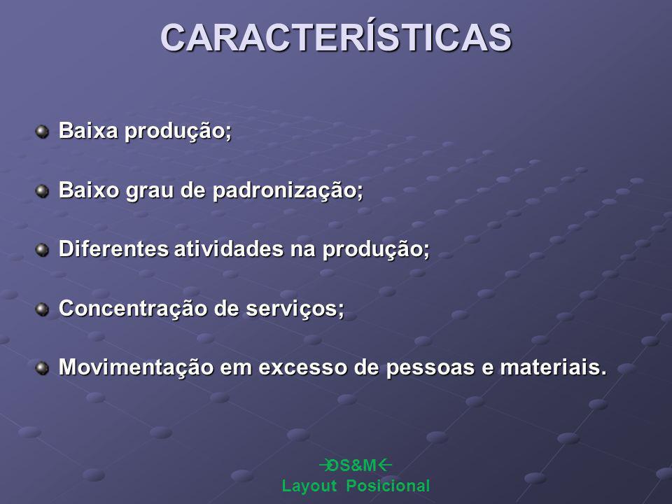 CARACTERÍSTICAS Baixa produção; Baixo grau de padronização;