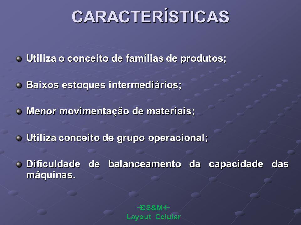 CARACTERÍSTICAS Utiliza o conceito de famílias de produtos;
