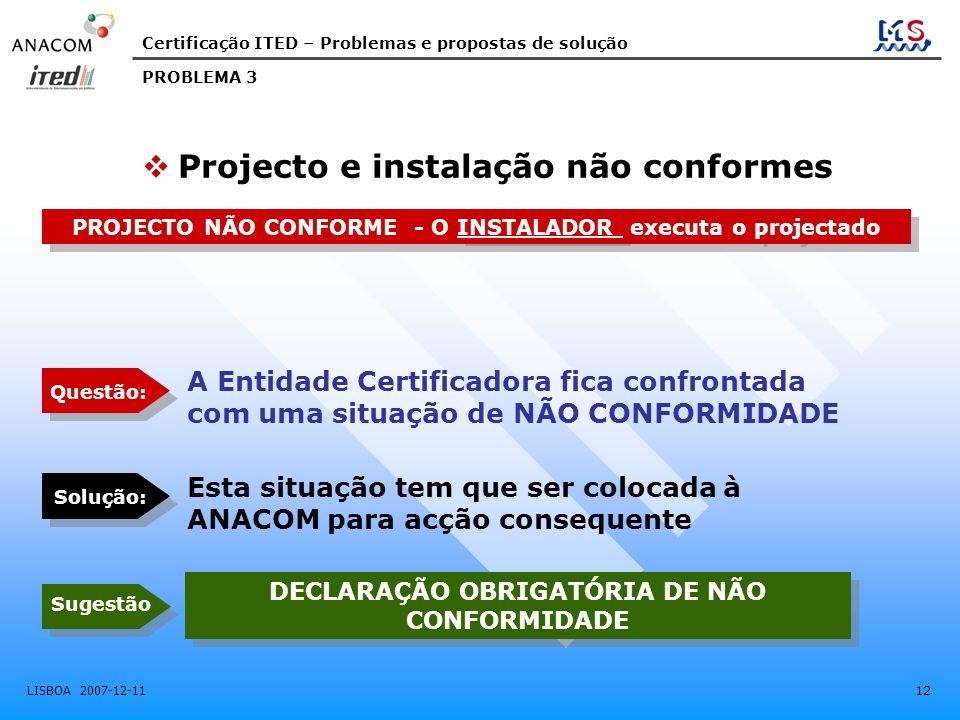 Projecto e instalação não conformes