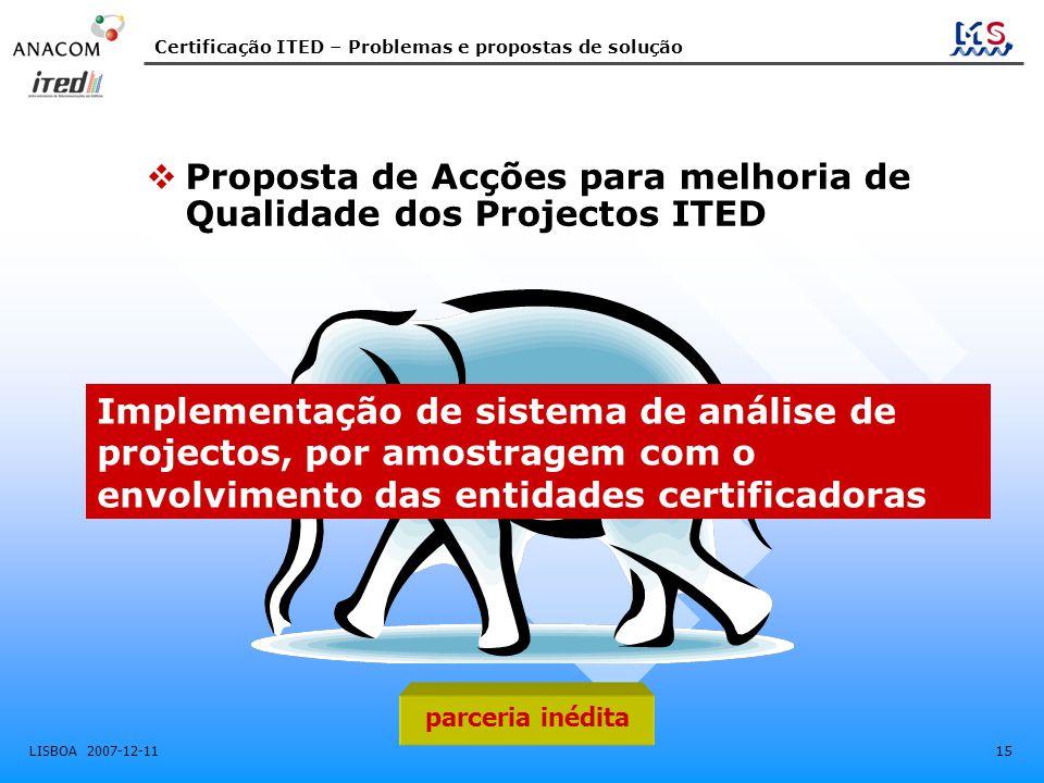 Proposta de Acções para melhoria de Qualidade dos Projectos ITED