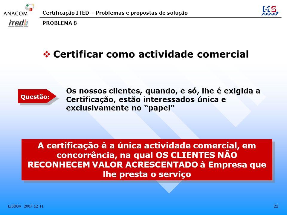 Certificar como actividade comercial