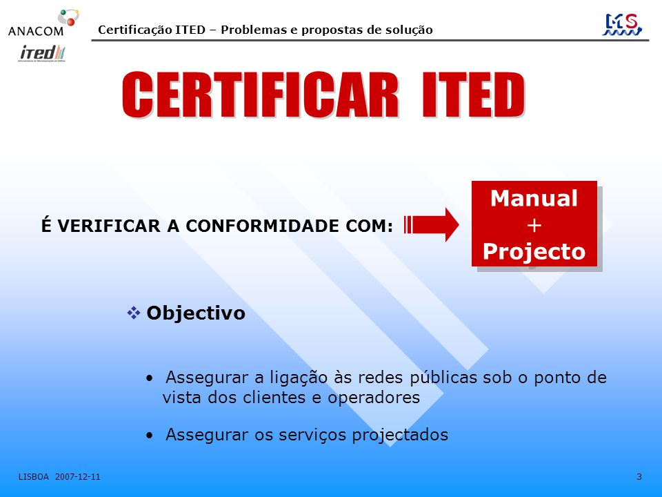 CERTIFICAR ITED Manual + Projecto Objectivo
