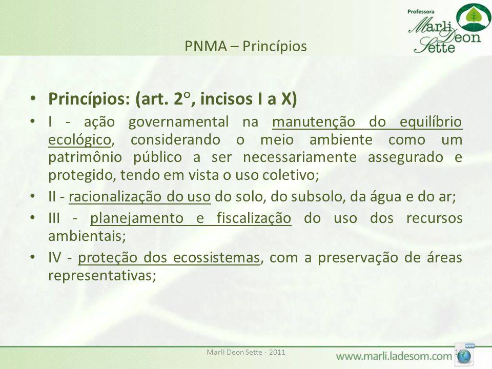 Princípios: (art. 2°, incisos I a X)