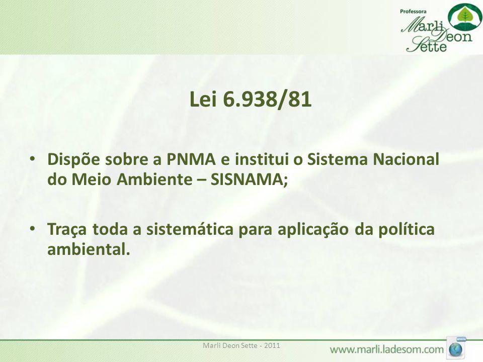 Lei 6.938/81 Dispõe sobre a PNMA e institui o Sistema Nacional do Meio Ambiente – SISNAMA;