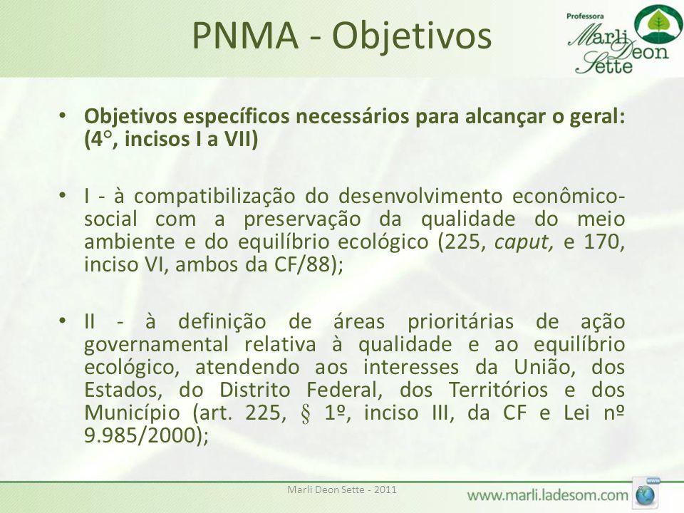 PNMA - Objetivos Objetivos específicos necessários para alcançar o geral: (4°, incisos I a VII)