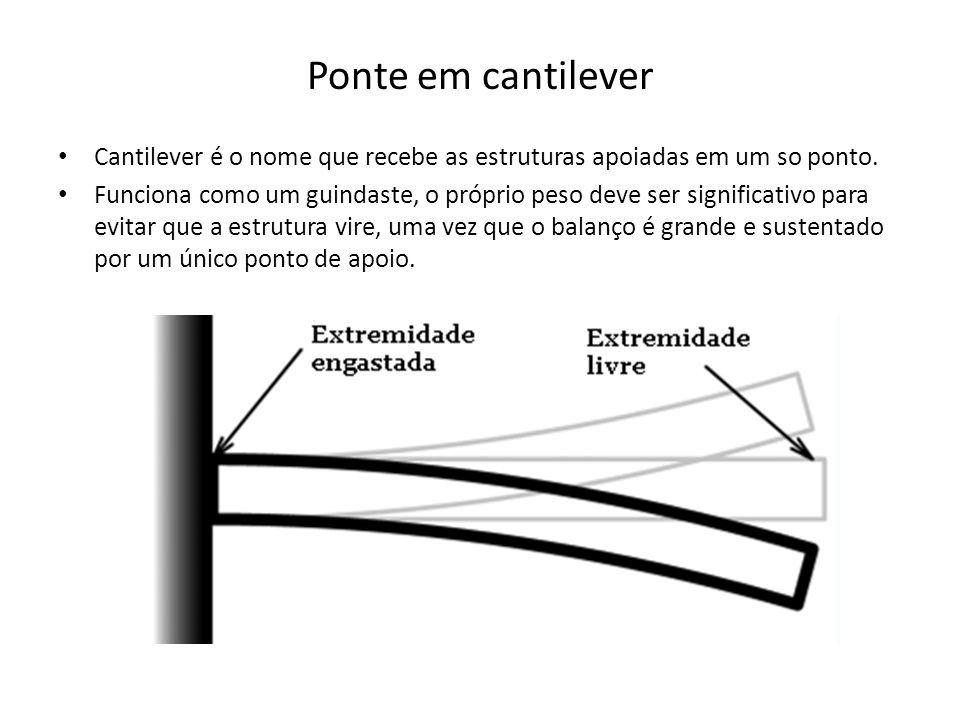 Ponte em cantilever Cantilever é o nome que recebe as estruturas apoiadas em um so ponto.