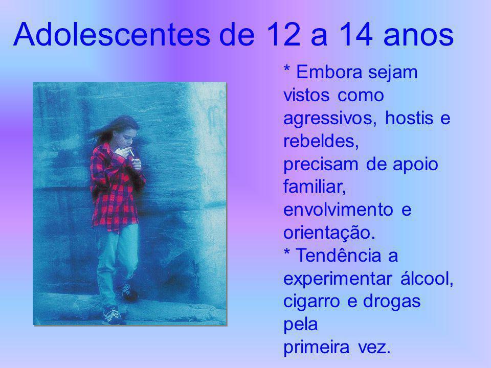 Adolescentes de 12 a 14 anos * Embora sejam vistos como agressivos, hostis e rebeldes, precisam de apoio familiar, envolvimento e orientação.