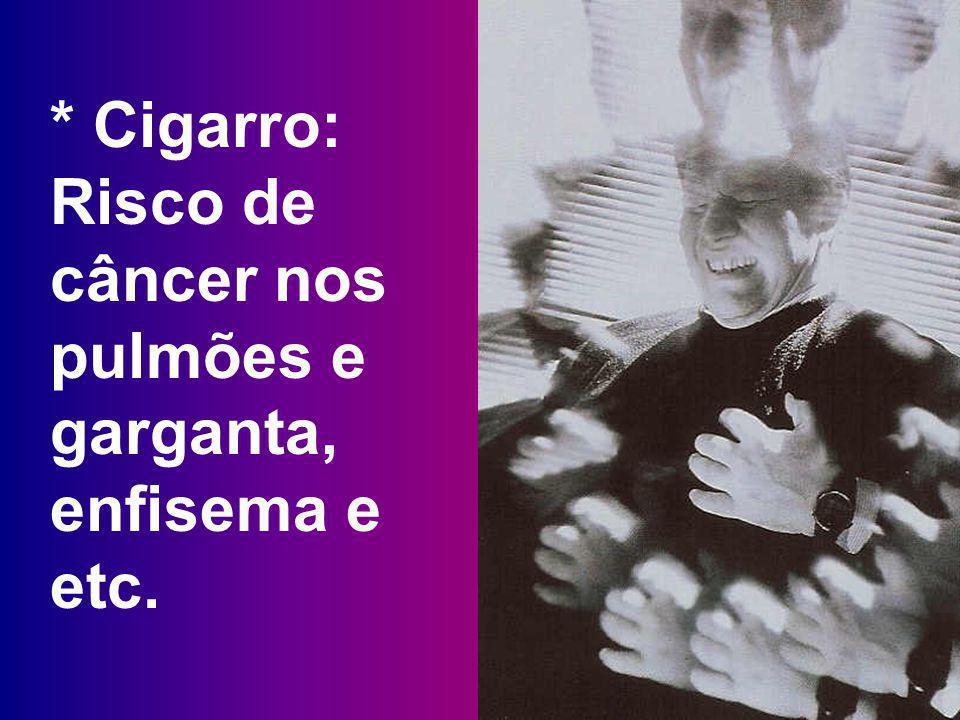 * Cigarro: Risco de câncer nos pulmões e garganta, enfisema e