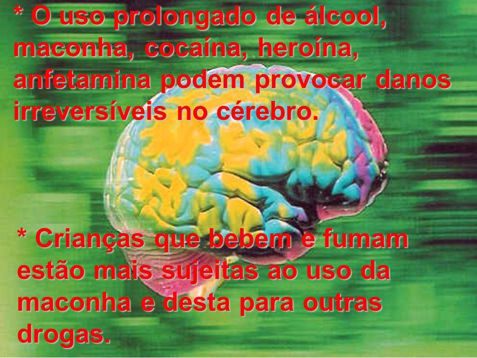 * O uso prolongado de álcool, maconha, cocaína, heroína, anfetamina podem provocar danos irreversíveis no cérebro.