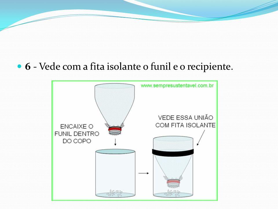 6 - Vede com a fita isolante o funil e o recipiente.