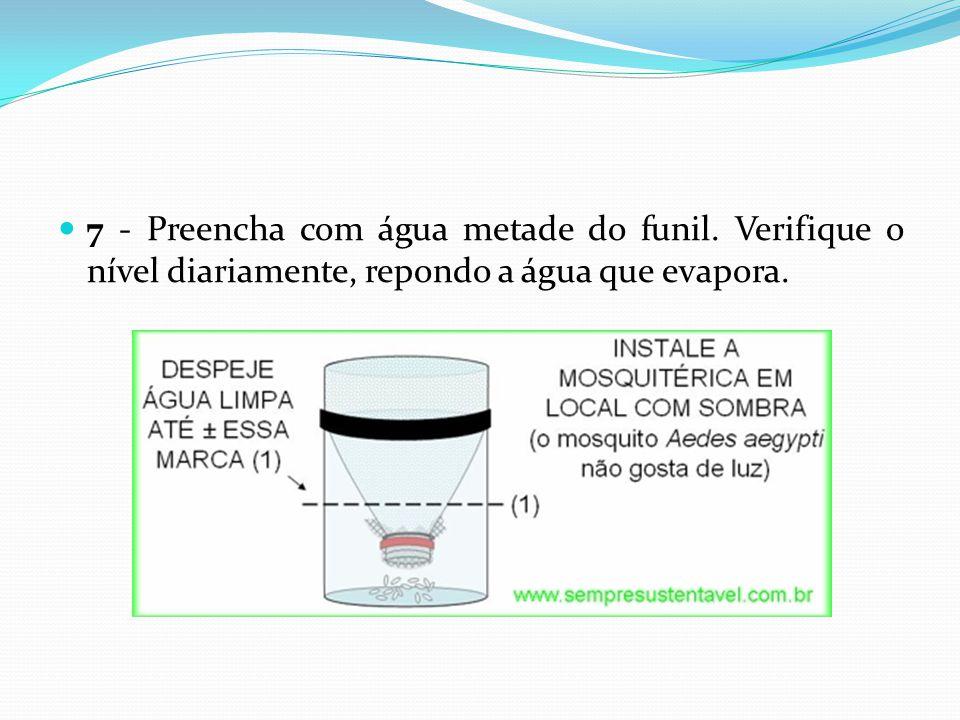 7 - Preencha com água metade do funil