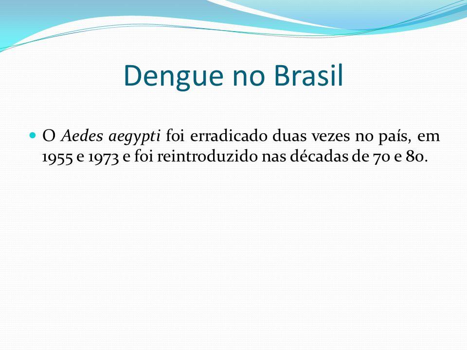 Dengue no Brasil O Aedes aegypti foi erradicado duas vezes no país, em 1955 e 1973 e foi reintroduzido nas décadas de 70 e 80.