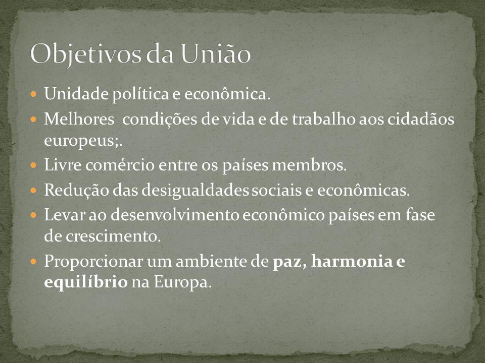 Objetivos da União Unidade política e econômica.