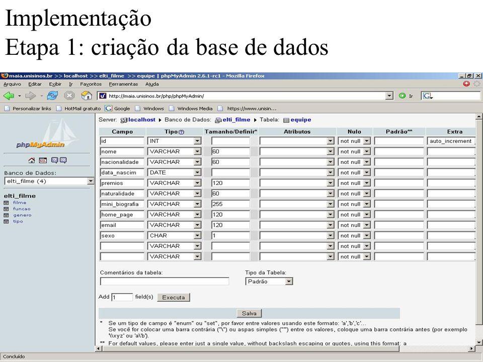 Implementação Etapa 1: criação da base de dados
