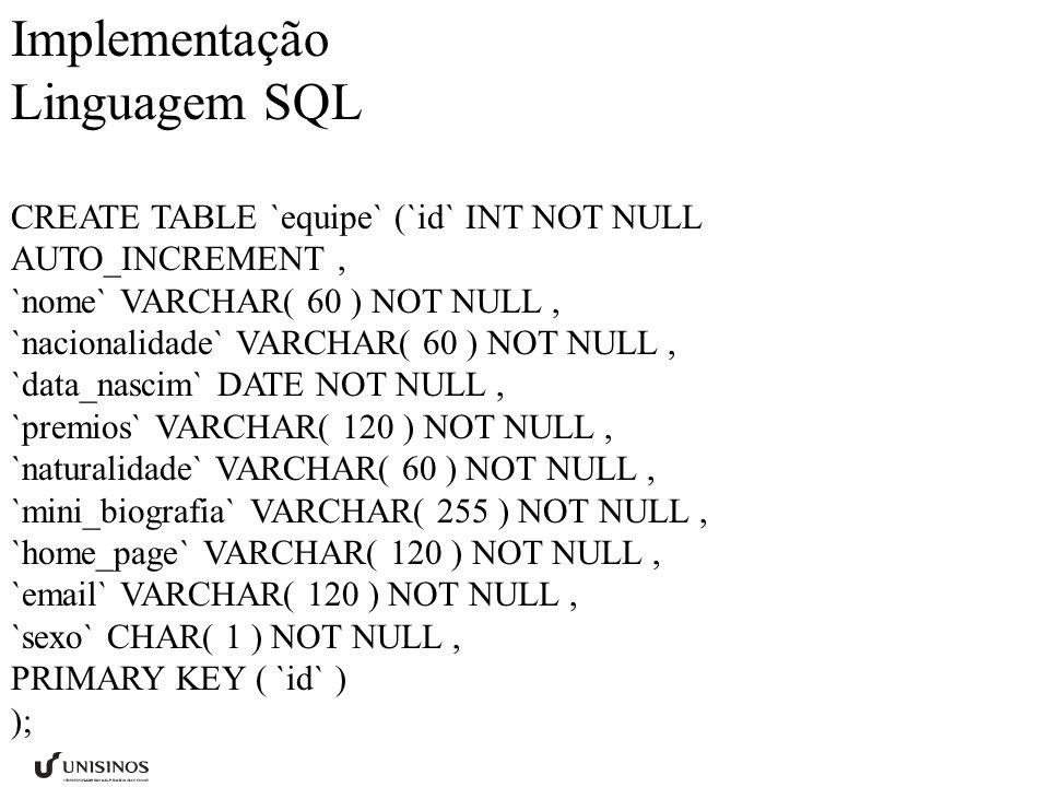 Implementação Linguagem SQL