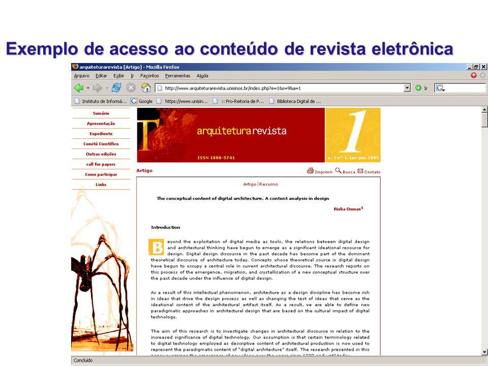 Exemplo de acesso ao conteúdo de revista eletrônica