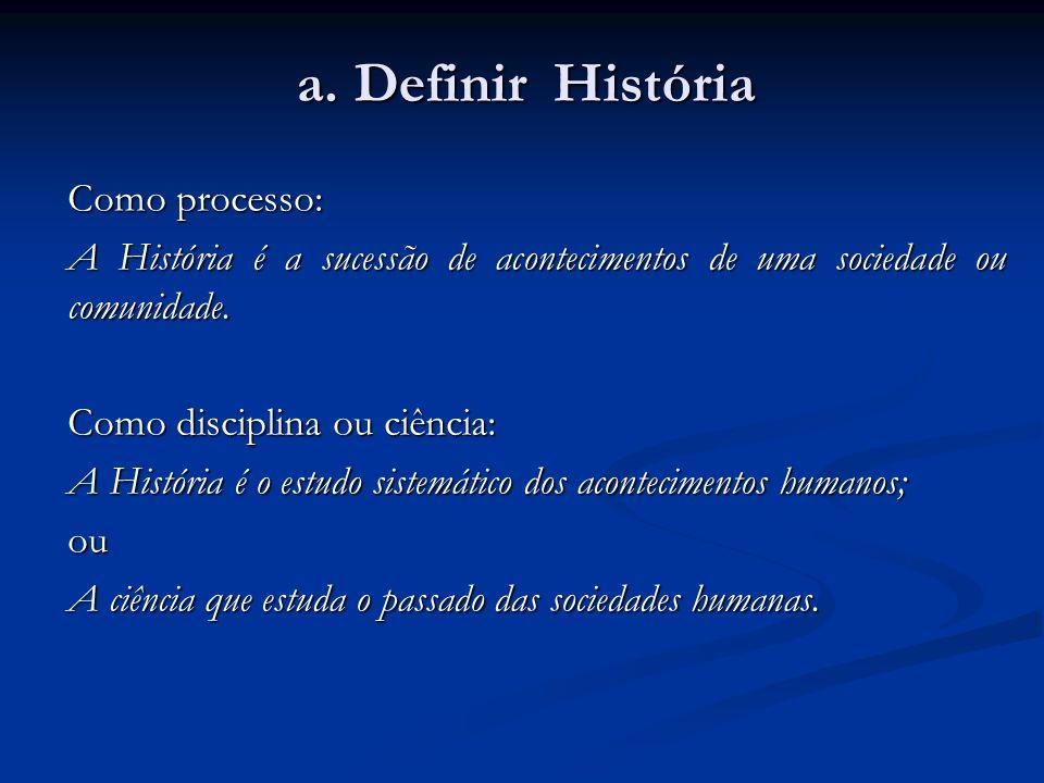 a. Definir História Como processo: