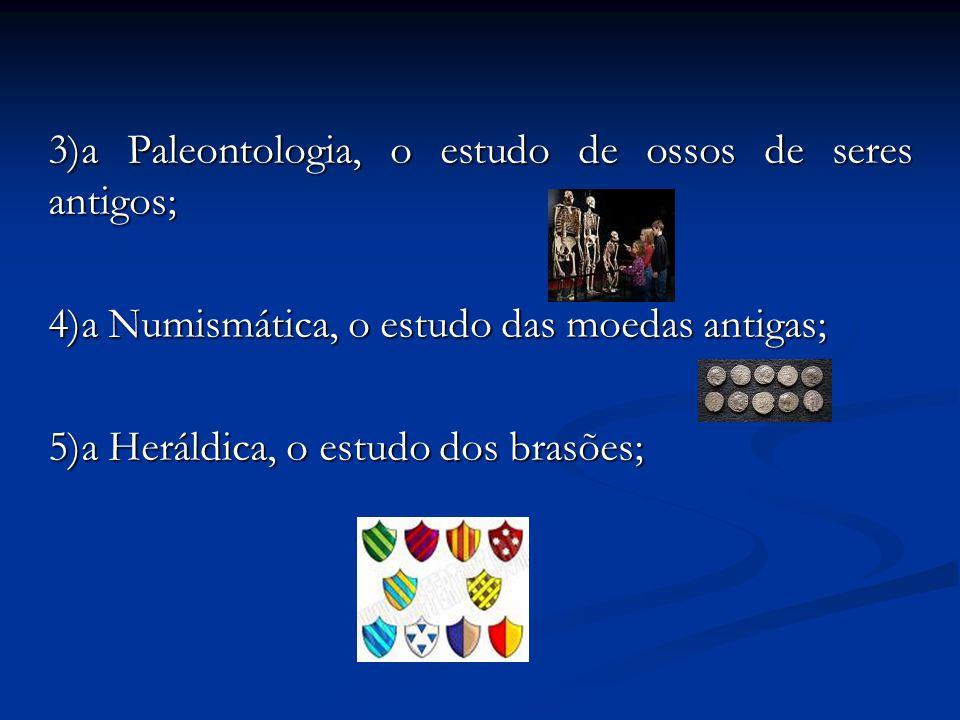 3)a Paleontologia, o estudo de ossos de seres antigos;