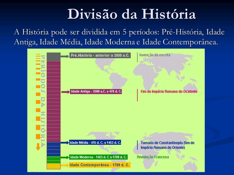 Divisão da História A História pode ser dividida em 5 períodos: Pré-História, Idade Antiga, Idade Média, Idade Moderna e Idade Contemporânea.