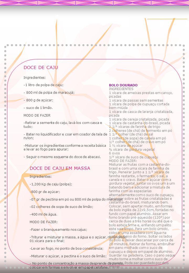 DOCE DE CAJU DOCE DE CAJU EM MASSA Ingredientes: