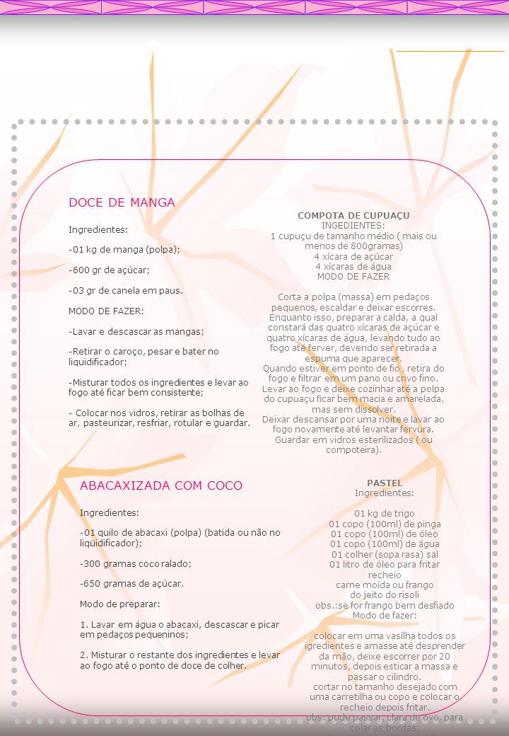 DOCE DE MANGA ABACAXIZADA COM COCO Ingredientes: COMPOTA DE CUPUAÇU