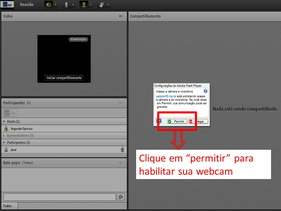 Clique em permitir para habilitar sua webcam