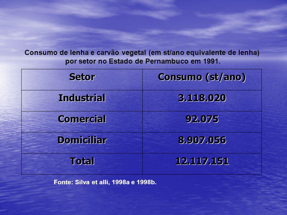 Consumo de lenha e carvão vegetal (em st/ano equivalente de lenha)