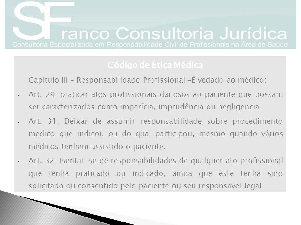 Capitulo III – Responsabilidade Profissional –É vedado ao médico: