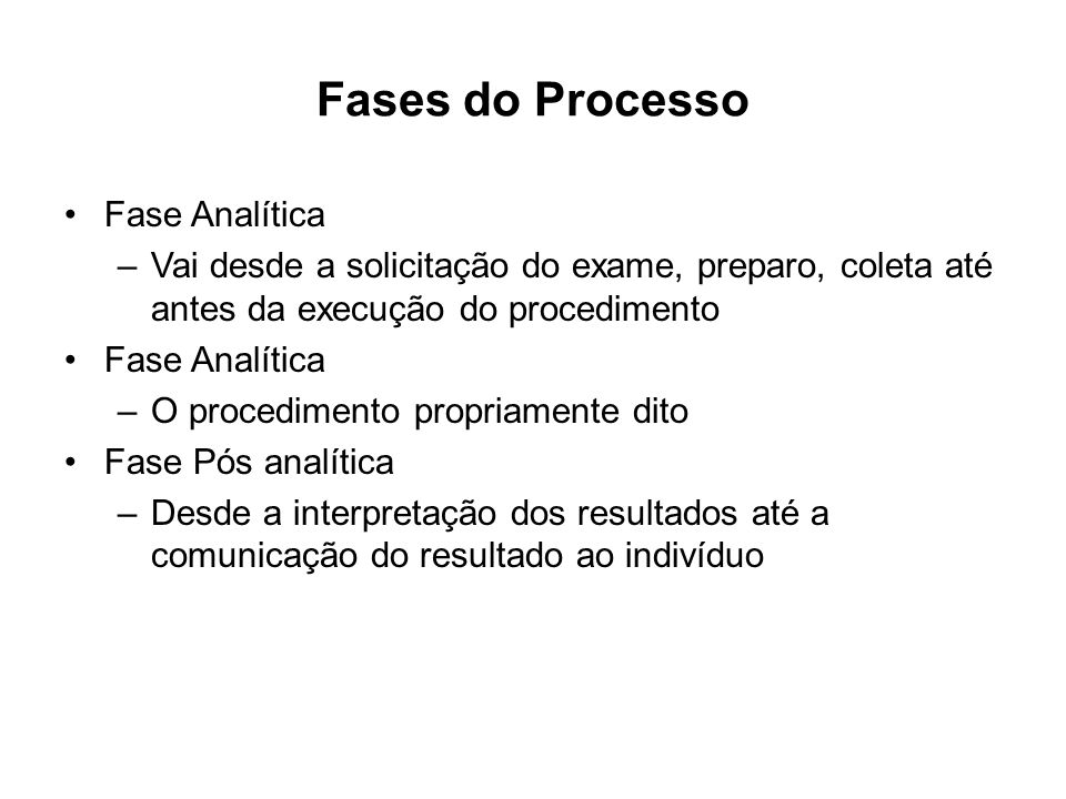 Fases do Processo Fase Analítica