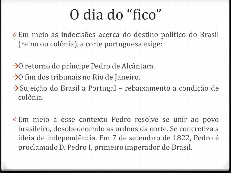 O dia do fico Em meio as indecisões acerca do destino político do Brasil (reino ou colônia), a corte portuguesa exige: