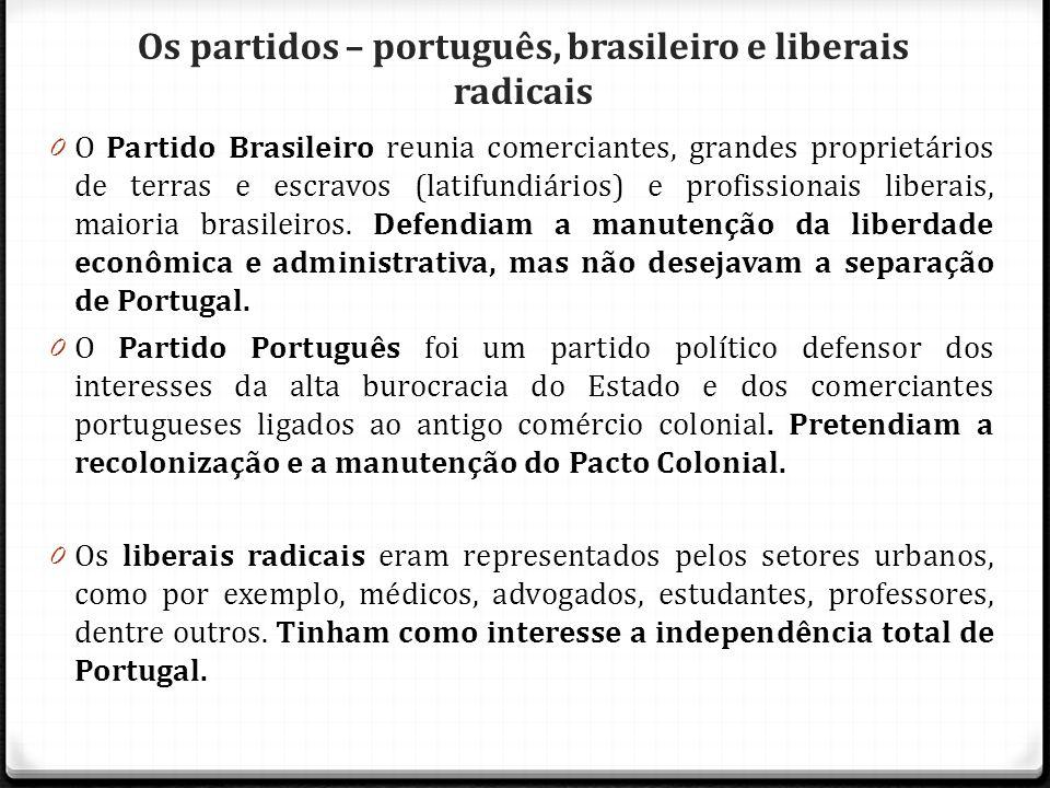 Os partidos – português, brasileiro e liberais radicais