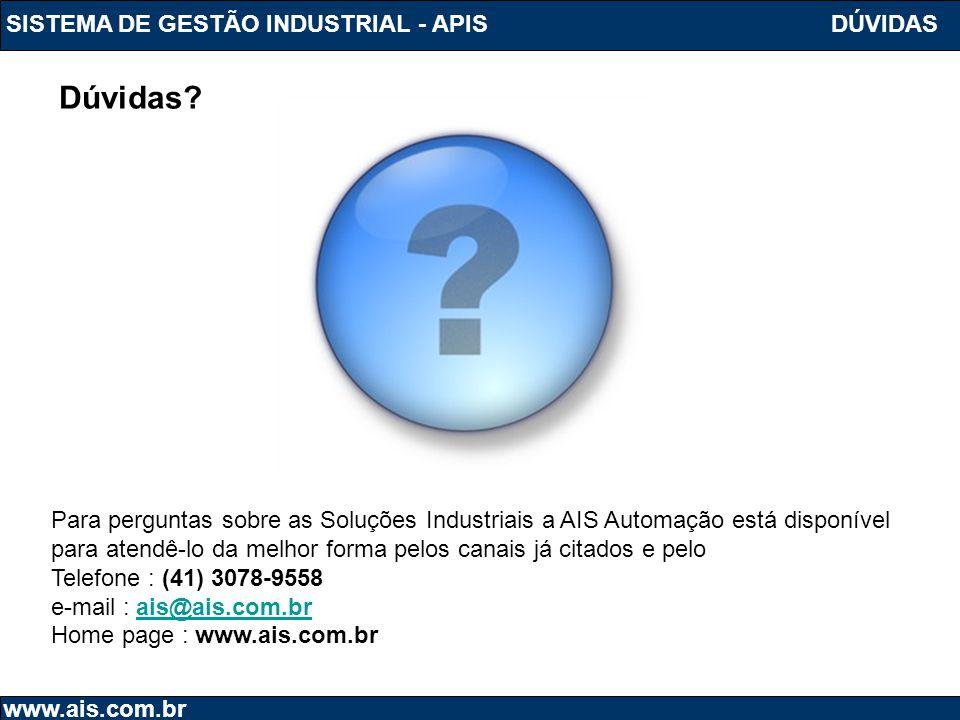 Dúvidas SISTEMA DE GESTÃO INDUSTRIAL - APIS DÚVIDAS