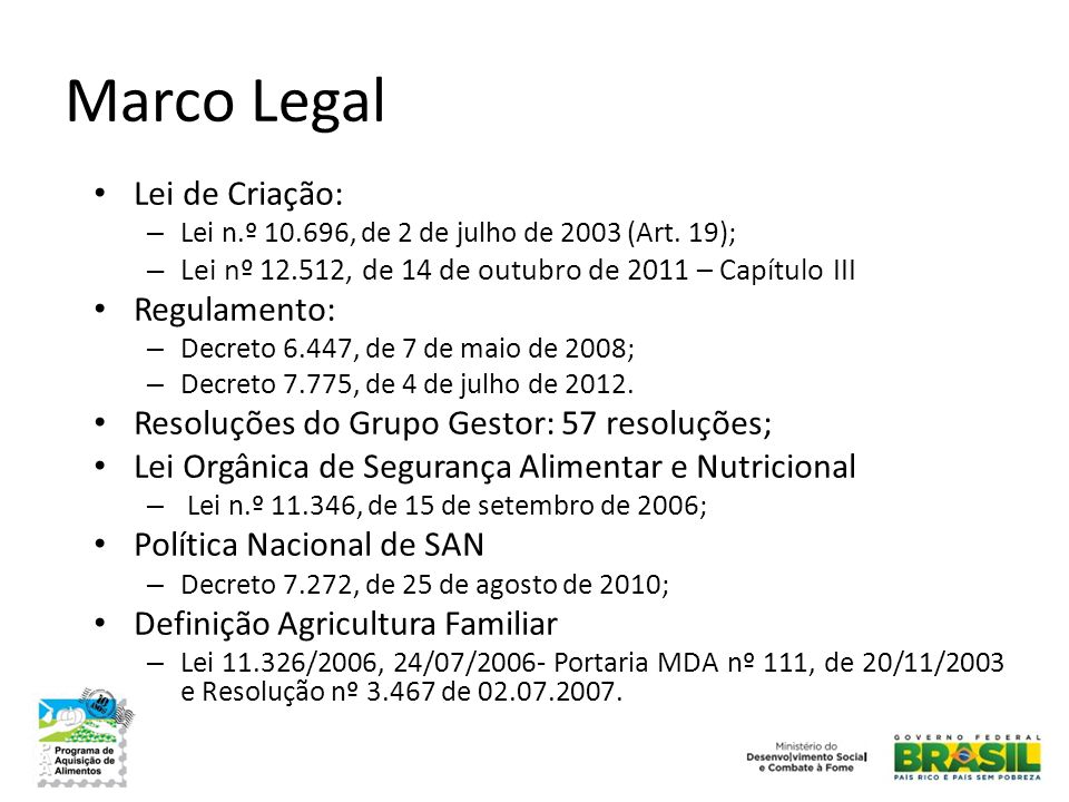 Marco Legal Lei de Criação: Regulamento: