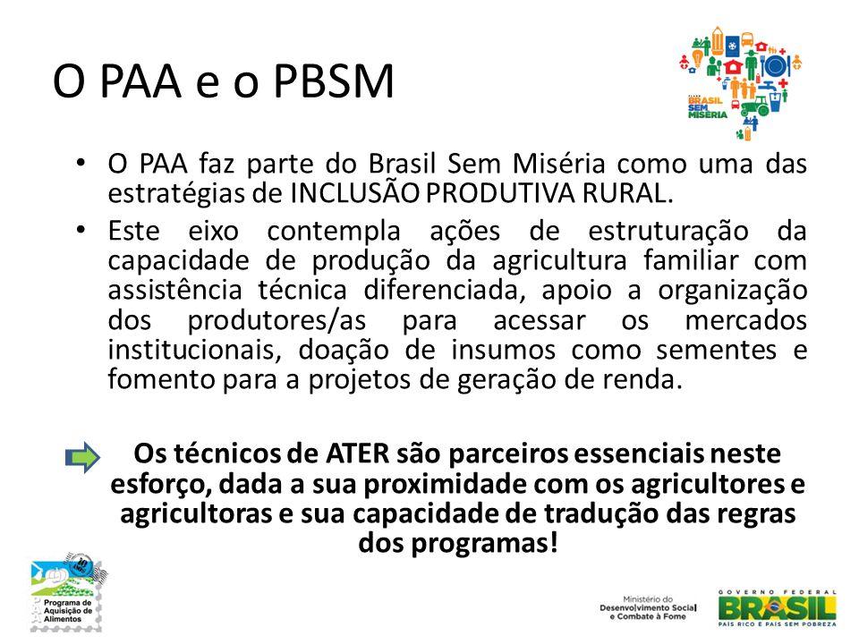 O PAA e o PBSM O PAA faz parte do Brasil Sem Miséria como uma das estratégias de INCLUSÃO PRODUTIVA RURAL.