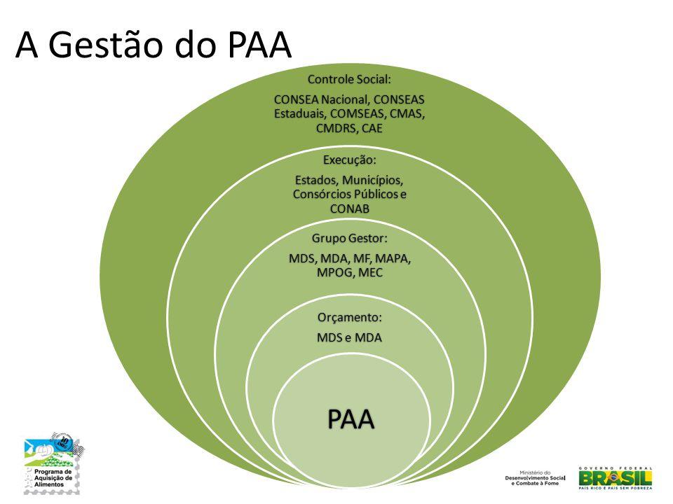 A Gestão do PAA PAA Controle Social: Execução: Grupo Gestor: