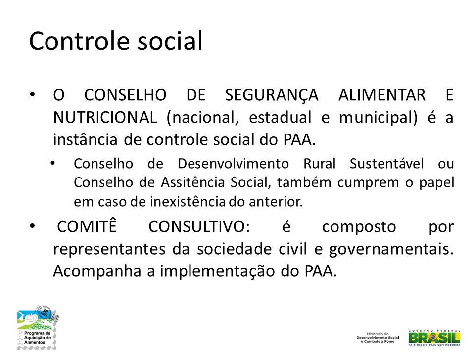 Controle social O CONSELHO DE SEGURANÇA ALIMENTAR E NUTRICIONAL (nacional, estadual e municipal) é a instância de controle social do PAA.
