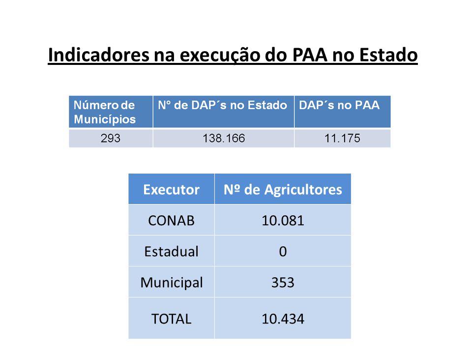 Indicadores na execução do PAA no Estado