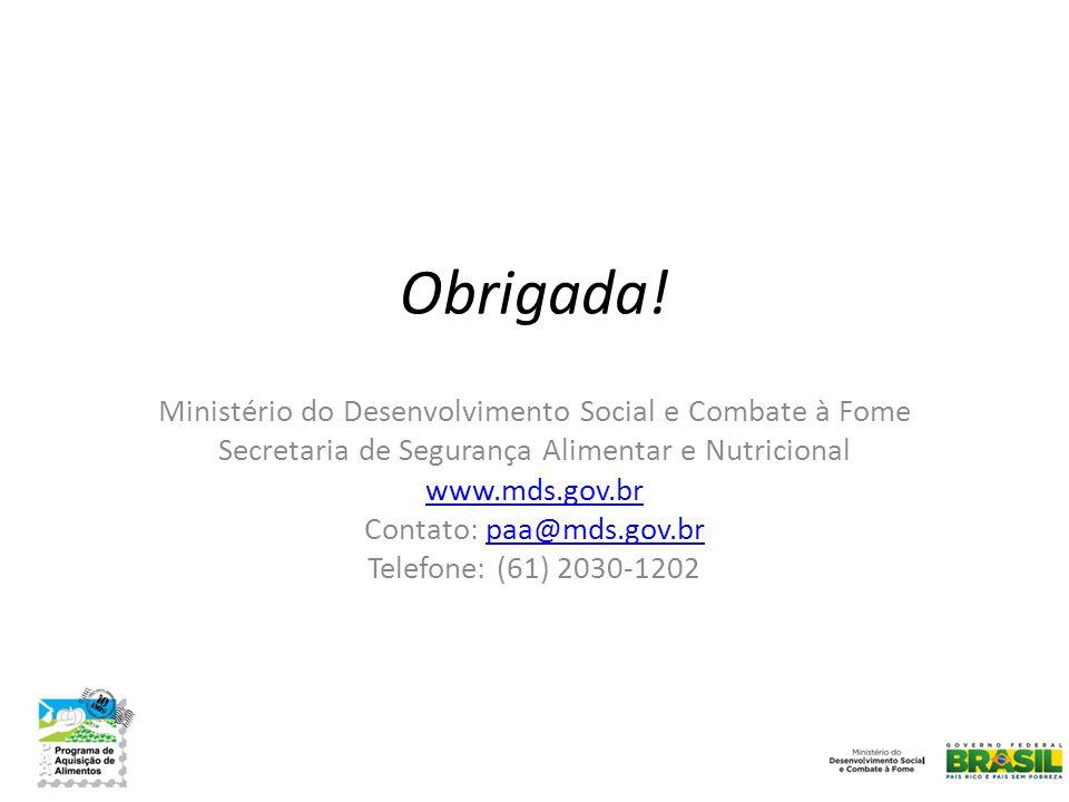Obrigada! Ministério do Desenvolvimento Social e Combate à Fome
