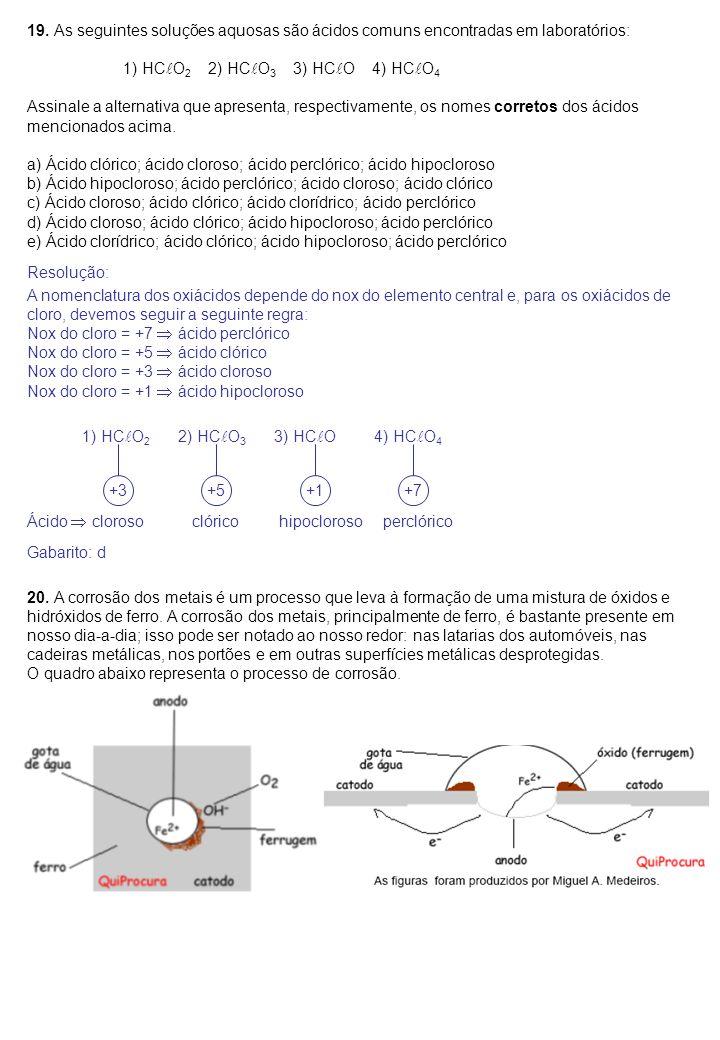 19. As seguintes soluções aquosas são ácidos comuns encontradas em laboratórios: