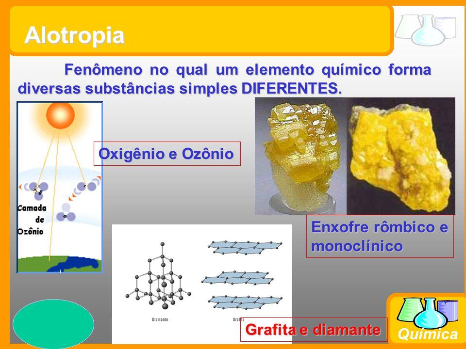 Alotropia Fenômeno no qual um elemento químico forma diversas substâncias simples DIFERENTES. Oxigênio e Ozônio.