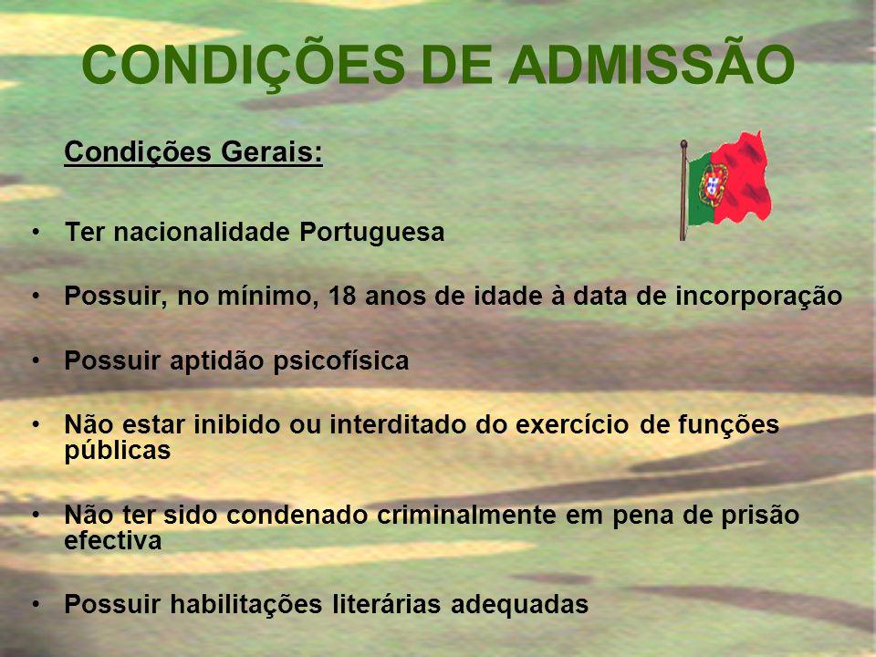 CONDIÇÕES DE ADMISSÃO Ter nacionalidade Portuguesa