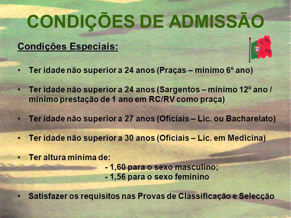 CONDIÇÕES DE ADMISSÃO Condições Especiais: