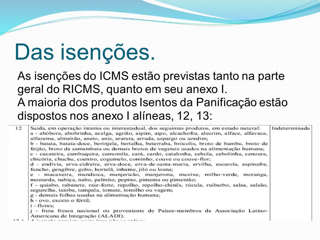 Das isenções. As isenções do ICMS estão previstas tanto na parte geral do RICMS, quanto em seu anexo I.