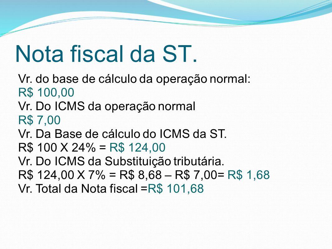 Nota fiscal da ST. Vr. do base de cálculo da operação normal: