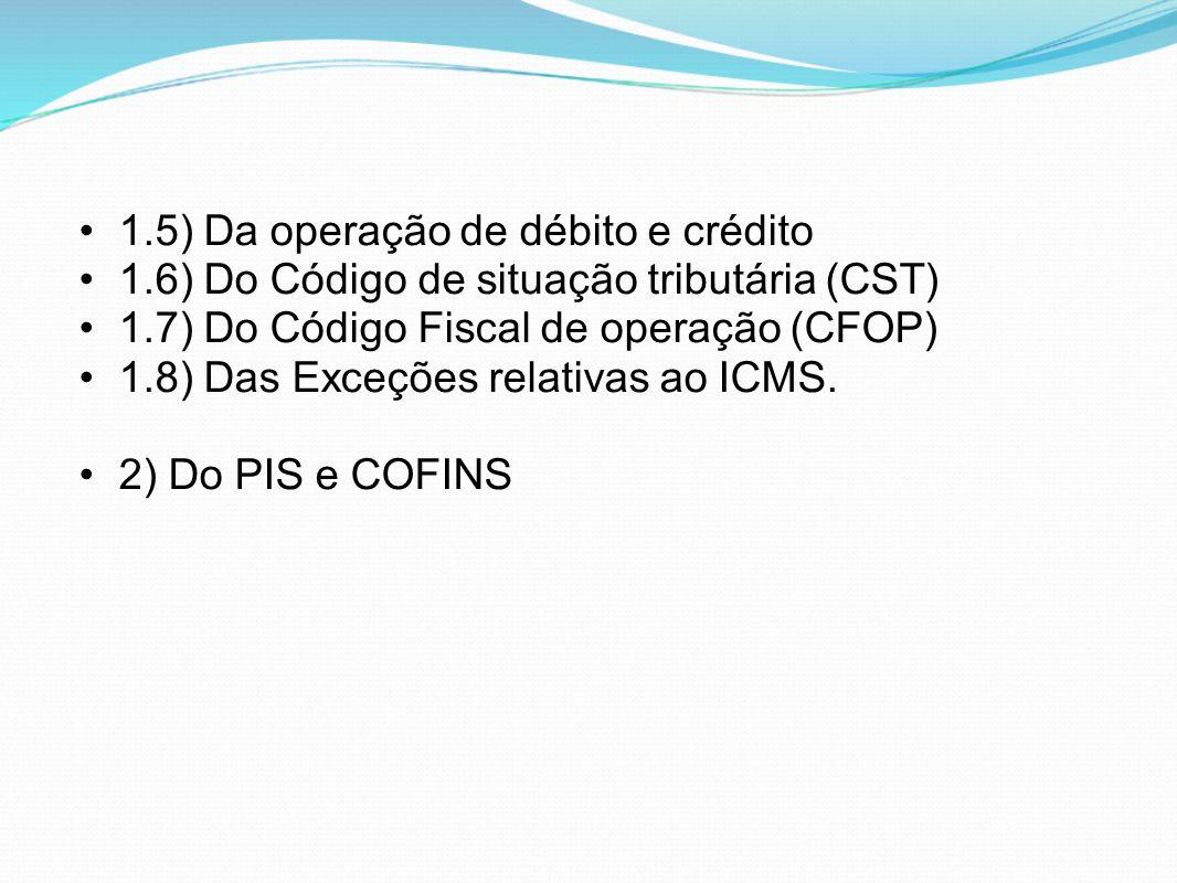 1.5) Da operação de débito e crédito