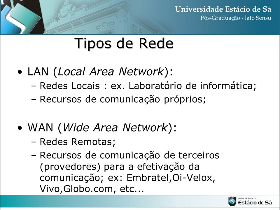 Tipos de Rede LAN (Local Area Network): WAN (Wide Area Network):